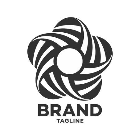 Modern logo black twisted star