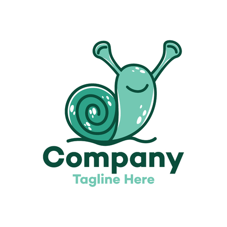 Modern character funny snail logo Ilustracja