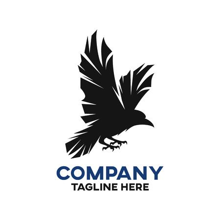 Modern black raven logo Ilustração