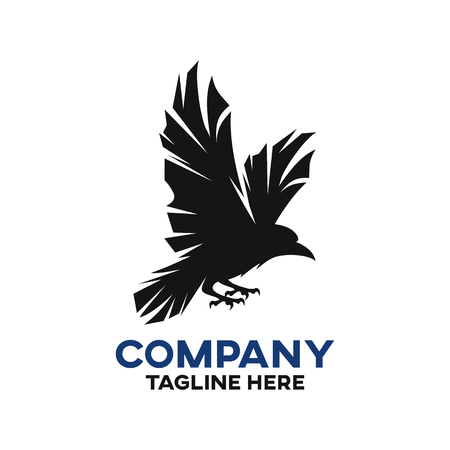 Modern black raven logo Ilustracja