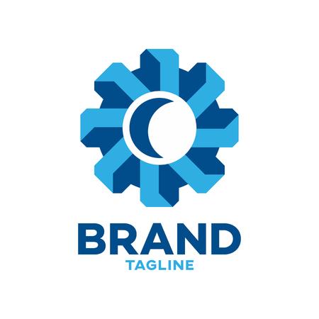 Modern 3D gear logo Standard-Bild - 125409111