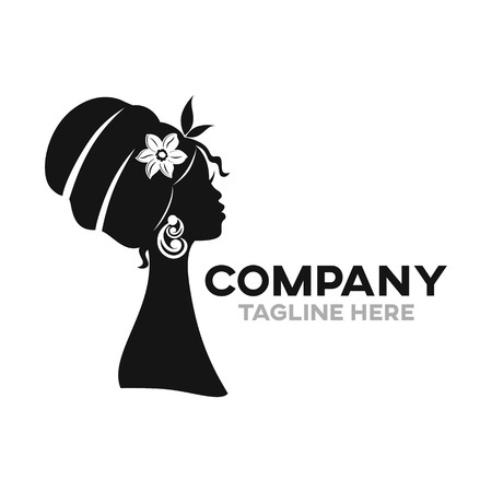 Modern beautiful African woman logo Standard-Bild - 125409114