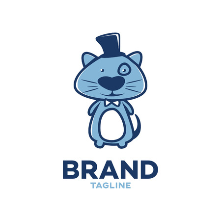 Modern logo cartoon character of a cat in a top hat Illustration