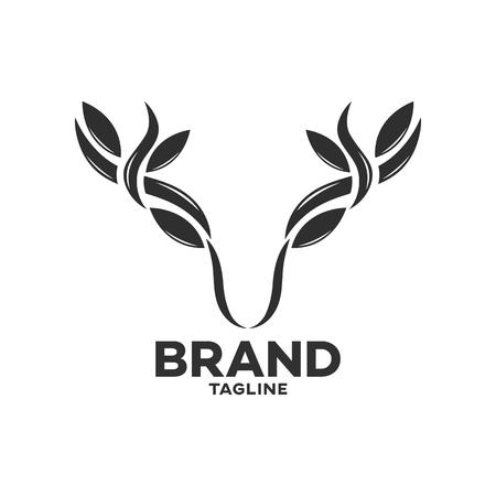 Modern deer with leaf horns logo