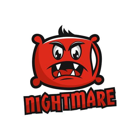 Modern mascot pillow and nightmare logo Standard-Bild - 125409122