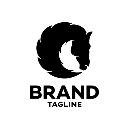 Modern black silhouette of a horses head logo