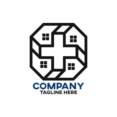 Modern cross house logo Standard-Bild - 124644306