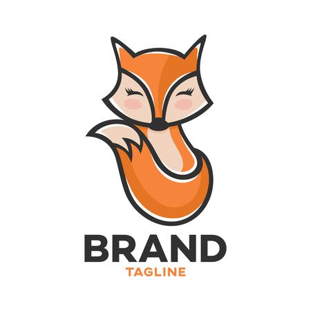 Modern logo children's hand-drawn character fox Standard-Bild - 124644311