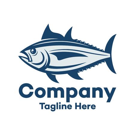 Modern Marine Tuna Fish and Fishing Logo 向量圖像