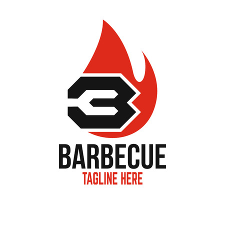 Modern barbecue and the letter B logo. Standard-Bild - 125409028