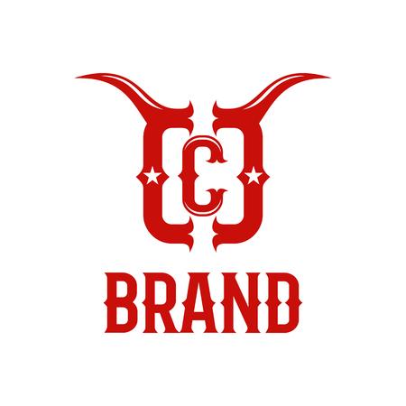 Modern bull horns and letter C logo Standard-Bild - 125409043