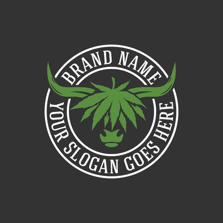 modern highlanders bull and cannabis logo. Vector illustration.