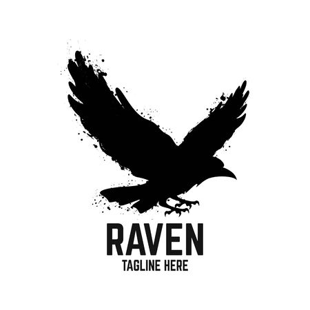 Modern black raven logo. Vector illustration.