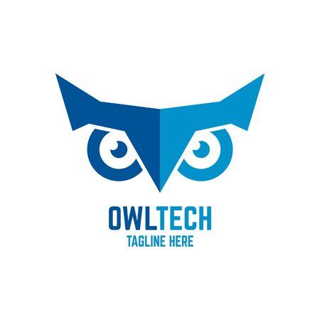 Modern owl and technology logo. Vector illustration. Ilustração