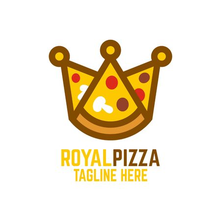 Modern pizza and crown. Vector illustration.