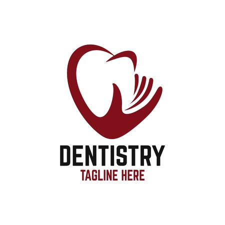 Modern caring and heart dentistry. Vector illustration.