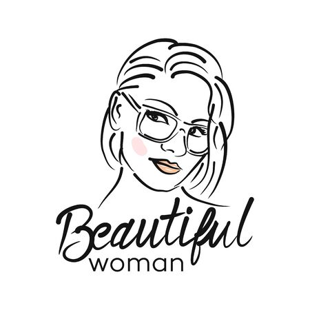 Modern beautiful woman logo Archivio Fotografico - 132542868