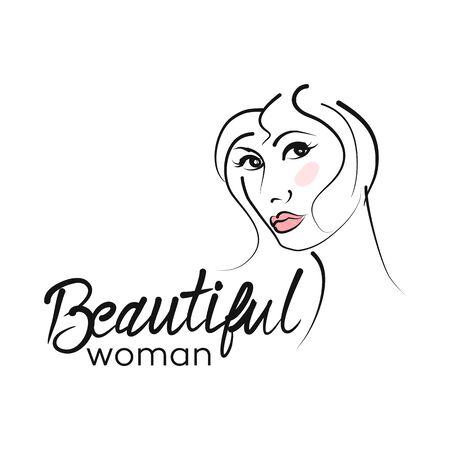 Modern beautiful woman logo Archivio Fotografico - 132542867