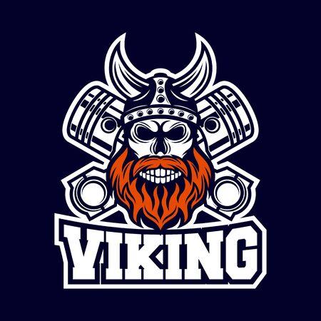 Modern Skull Viking and Diesel logo Ilustração