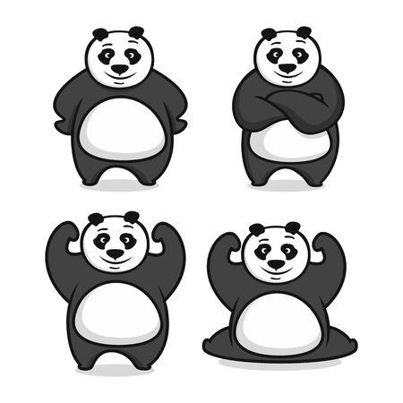 Modern mascot panda Ilustração