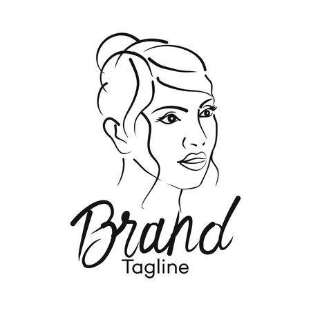 Modern beautiful woman logo. Vector illustration. Archivio Fotografico - 132542805