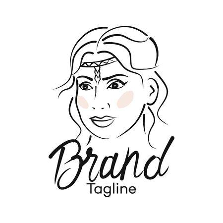 Modern beautiful woman logo. Vector illustration. Archivio Fotografico - 132542808