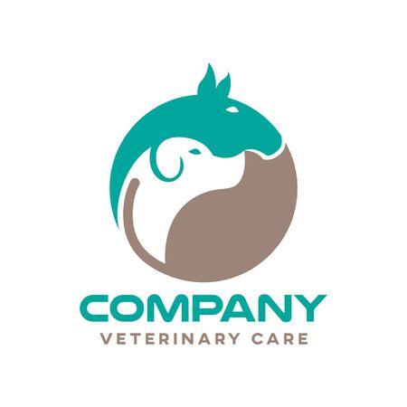 Modern pets and veterinary logo. Vector illustration.