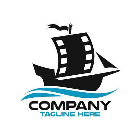 Modern sailing ship and film logo