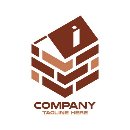 Modern logo real estate and wall. Vector illustration.
