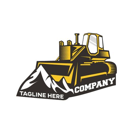 Modern logo bulldozer and mountains. Vector illustration.