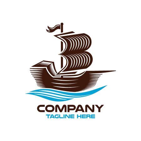 Modern logo sailing ship and book. Vector illustration.