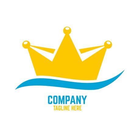 Modern royal sailing ship and the logo crown. Vector illustration.