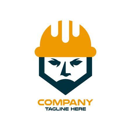 Modern builder and architect in a construction helmet logo. Vector illustration.