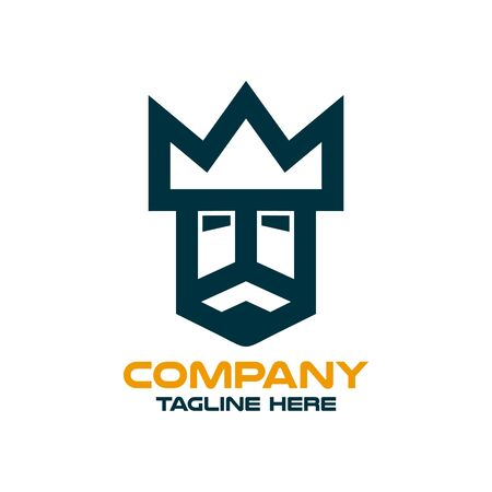 Modern simple logo of the king's head. Vector illustration.