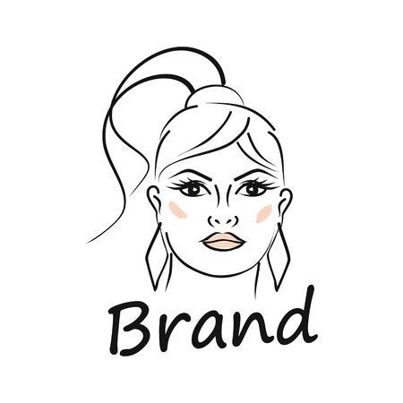 Modern beauty and face of a beautiful woman logo. Vector illustration.