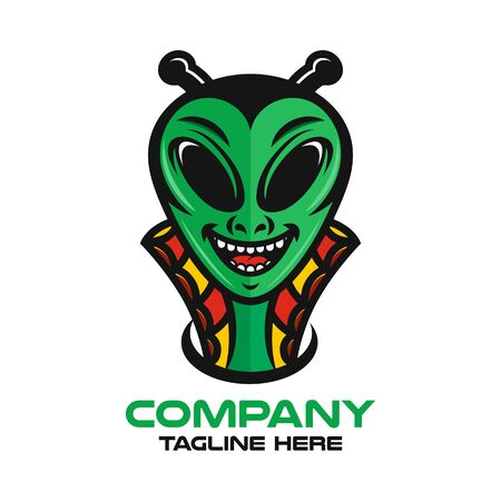 Modern mascot is an alien logo. Vector illustration.