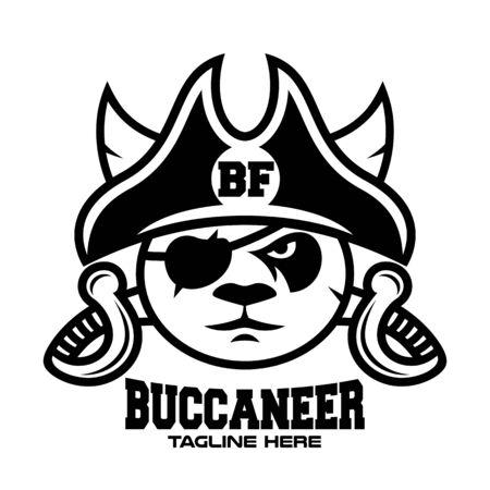 Modern panda pirate head with sabers logo. Vector illustration.