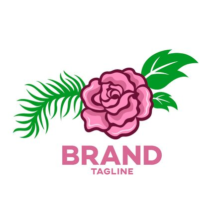 Modern beautiful rose flower logo. Vector illustration.