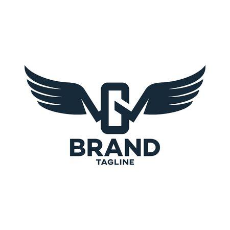 Modern letter GW or WG and logo wings. Vector illustration. Ilustração