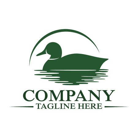 Modern floating duck and hunting logo. Vector illustration.