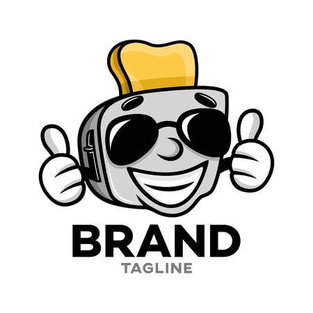 Modern cartoon character toaster logo. Vector illustration.