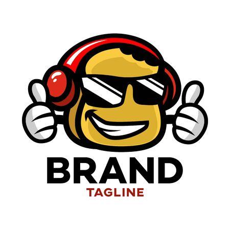 Modern cartoon character toast in headphones logo. Vector illustration.