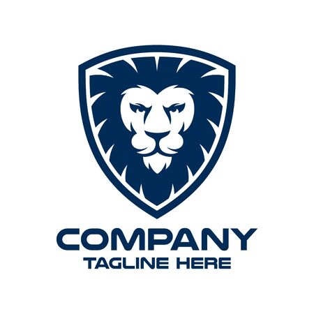 Modern lion in shield and security logo. Vector illustration.