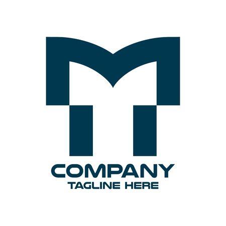 Modern letter TM or MT logo. Vector illustration. Ilustração