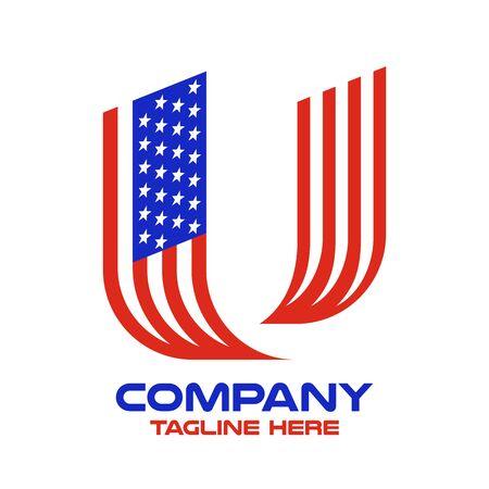 Modern letter U and american flag logo. Vector illustration. Ilustração