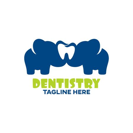 Modern childrens dentistry and elephant. Vector illustration.