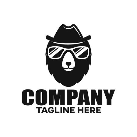 Modern bear in a hat and glasses logo. Vector illustration.
