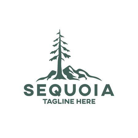 Modern tree sequoia logo. Vector illustration. Illustration