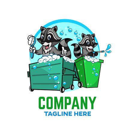 Modern Trash can with raccoon logo. Vector illustration. Illustration
