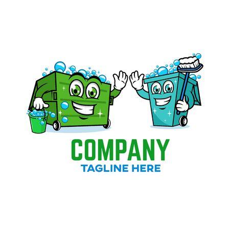 Modern Trash can logo. Vector illustration.